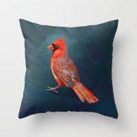 cardinal Throw Pillows featuring Cardinal by Freeminds
