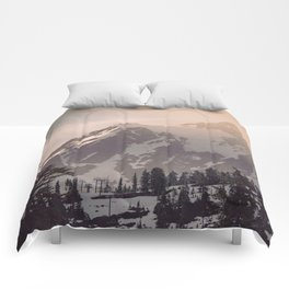 Pink Mountain Morning - Nature Photography Comforters