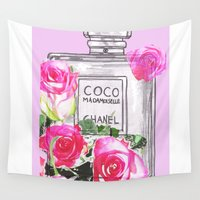 coco Wall Tapestries featuring Floral Coco by Sophie England Illustrations