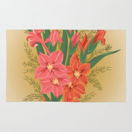 Bouquet of pink and red gladioluses Rug