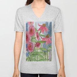 Summer Flowers Watercolor  Unisex V-Neck