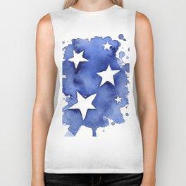Stars Abstract Blue Watercolor Geometric Painting Biker Tank