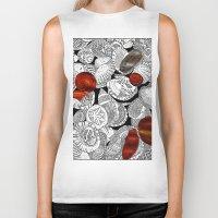 shells Biker Tanks featuring Shells by EmilyGrantDesign
