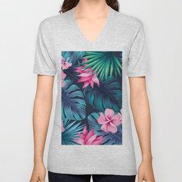 Tropical flowers Unisex V-Neck