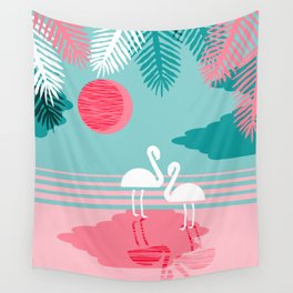 Chill Vibes - memphis retro throwback 1980s 80s neon pop art flamingo paradise socal vacation Wall Tapestry