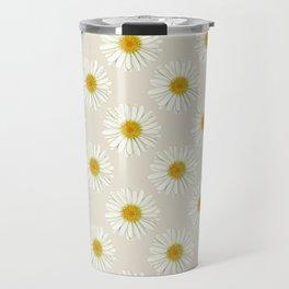 White Daisy Flowers Travel Mug