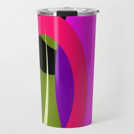 Abstract Composition in Green and Fuchsia Travel Mug