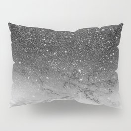 Stylish faux black glitter ombre white marble pattern Pillow Sham