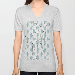 Blush blue brown watercolor leaves tree branch pattern Unisex V-Neck