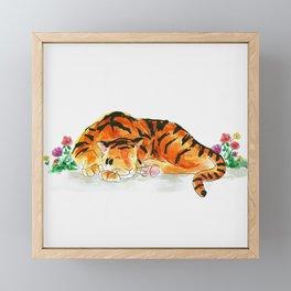 Sleeping tiger watercolor Framed Mini Art Print