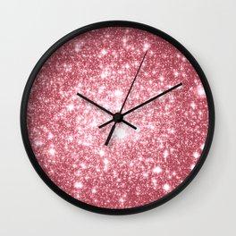 Pink Sparkle Stars Wall Clock