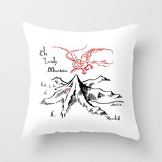 Smaug and The Lonely Mountain Throw Pillow