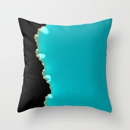 Creeping Teal with a Gold Edge Throw Pillow