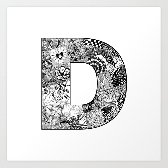 Cutout Letter D Art Print By Doodlingtogether Society6