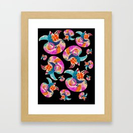 pattern with embroidered lilies Framed Art Print