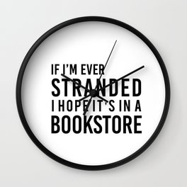 Stranded in a Bookstore Wall Clock