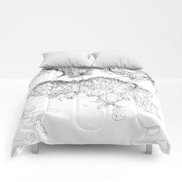 Hong Kong White Map Comforters
