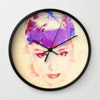 audrey hepburn Wall Clocks featuring Audrey Hepburn by Stacia Elizabeth