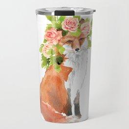 fox with flower crown Travel Mug