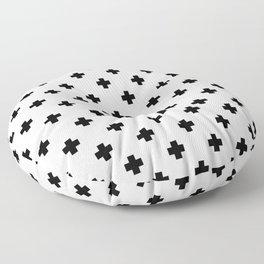 Black and White Swiss Cross Pattern Floor Pillow