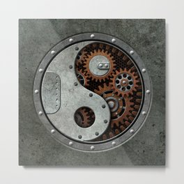 Industrial Steampunk Yin Yang with Gears Metal Print
