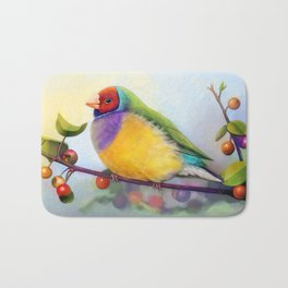 Gouldian finch realistic painting Bath Mat