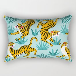 Asian tigers and tropic plants on background. Rectangular Pillow