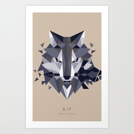 Sif the Great Grey Wolf (without bg) Art Print