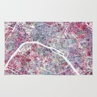 paris map Area & Throw Rugs featuring Paris Map by MapMapMaps.Watercolors
