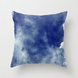 Indigo Brush Strokes Throw Pillow