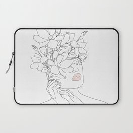 Minimal Line Art Woman with Magnolia Laptop Sleeve
