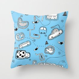 Vehicle Doodle (: Throw Pillow