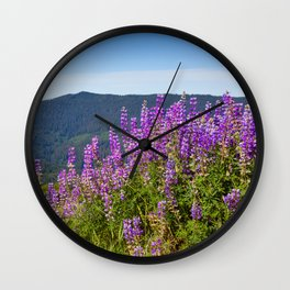 The Lupines in the Hills Wall Clock