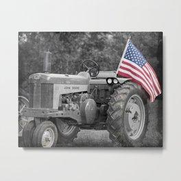 American Flag Tractor Metal Print