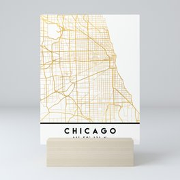 CHICAGO ILLINOIS CITY STREET MAP ART Mini Art Print