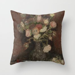 Vase with Chinese Asters and Gladioli Throw Pillow