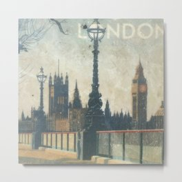 London skyline view of Westminster Abbey and Big Ben, painting from Victorian era Metal Print