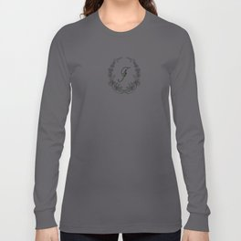 the letter F in a leaves and flowers . Art Long Sleeve T-shirt