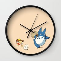 nausicaa Wall Clocks featuring となりのトトロ - Run by Studio Momo╰༼ ಠ益ಠ ༽