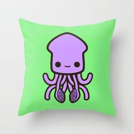Cute purple squid Throw Pillow