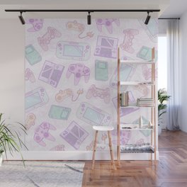 Gamer Girl Pattern Wall Mural