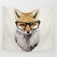christmas Wall Tapestries featuring Mr. Fox by Isaiah K. Stephens