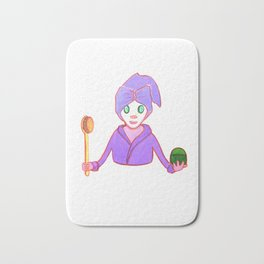 Funny beauty queen in mask with cucumber brush and cream like sceptre and globe in violet  gown Bath Mat