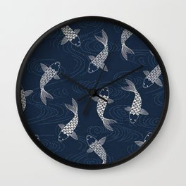 Koi carp, fish textile pattern Wall Clock