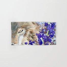 Wolf with purple flowers Hand & Bath Towel