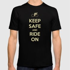 Keep Safe And Ride On MEDIUM Black Mens Fitted Tee