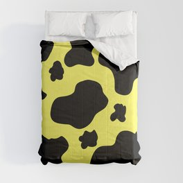 Cow Print Pattern / White / Black / GFTCowPrint002 / Yellow Background  Comforters