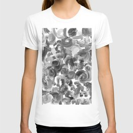 Brushstroke 3  black white T-shirt