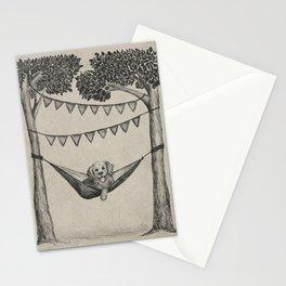 Dog in Hammock Sketched Illustration Stationery Cards