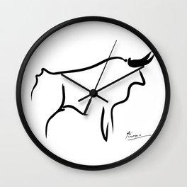 Pablo Picasso Bull 1952 Artwork, Animals Line Sketch, Prints, Posters, Bags, Tshirts, Men, Women, Kids Wall Clock